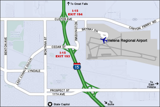 Helena Airport Area Map